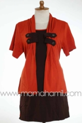 baju menyusui kancing lokal orange   SD 182  large